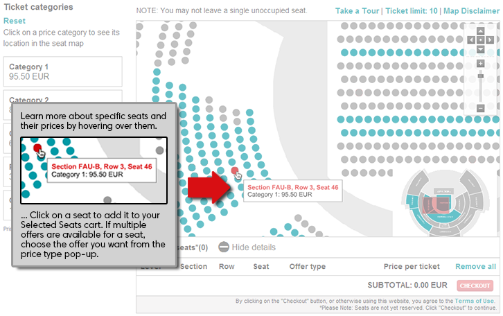 Interactive seat map ticketmaster