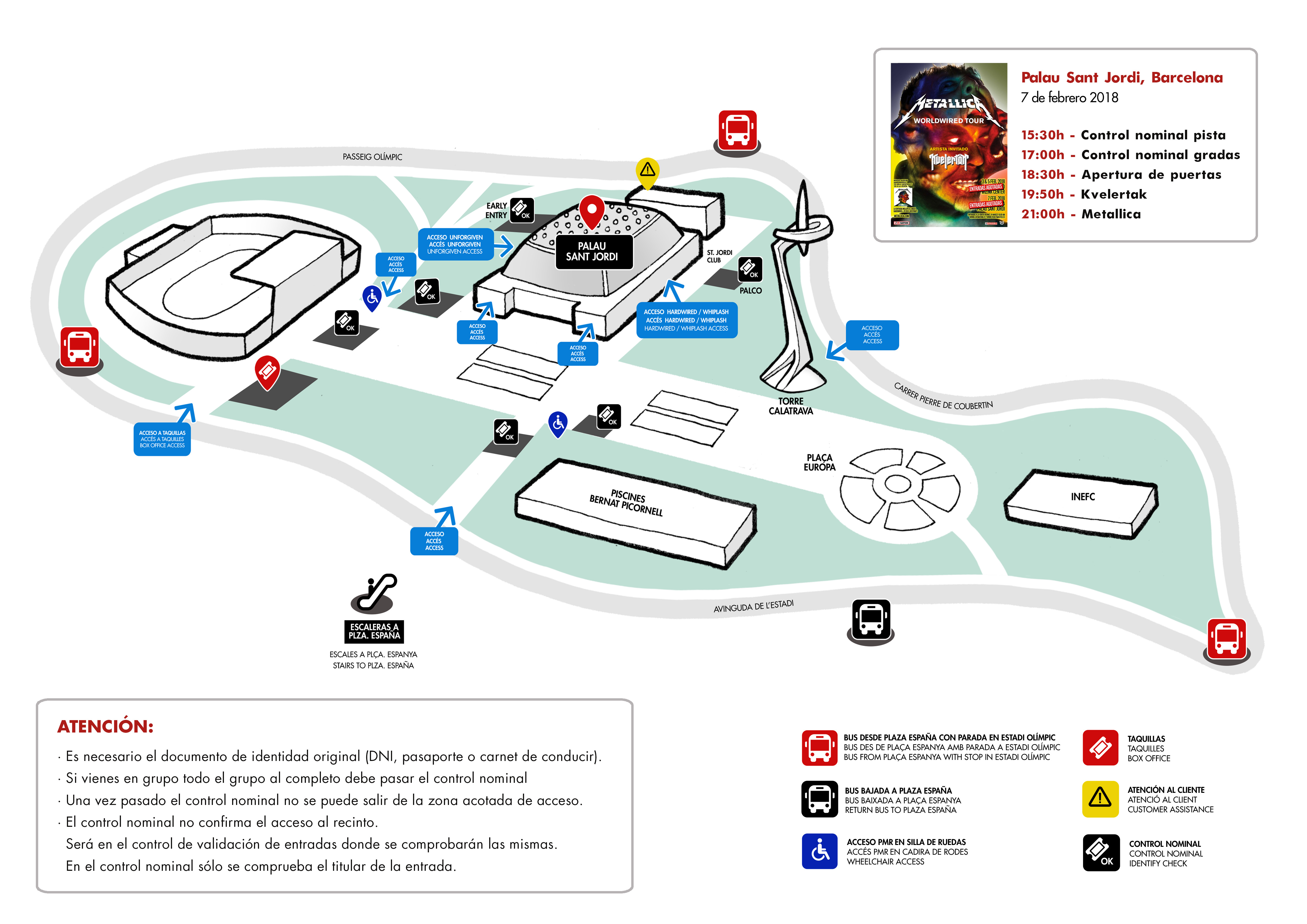 Palau Sant Jordi Mapa Zonas.Metallica En Barcelona Que Debo Saber Ticketmaster Blog